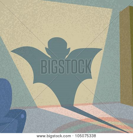Vampire Shadow Silhouette Retro Shape Cartoon Man Character Flat Vector Illustration