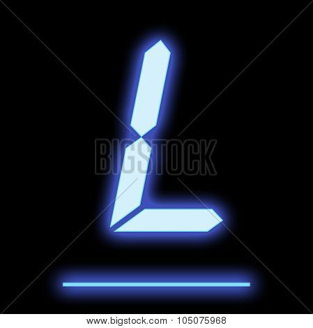 Led Letter L Blue Color