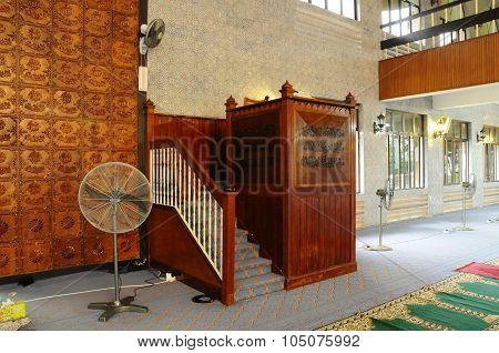 Mimbar of Kuching Town Mosque a.k.a Masjid Bandaraya Kuching in Sarawak, Malaysia