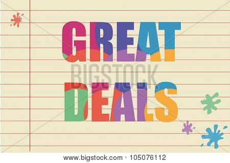 Great deals written on a piece of paper