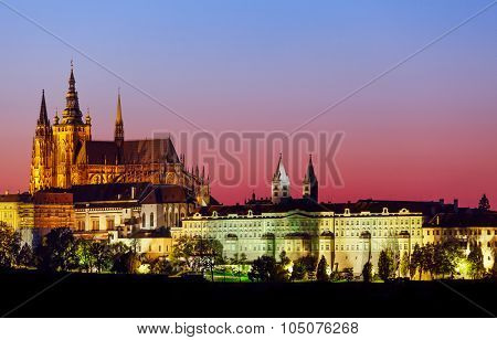 Evening landscape view to Prague castle Czech republic. Illustration