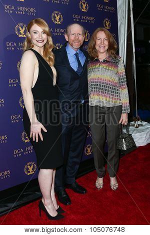 NEW YORK-OCT 15: (L-R) Actress Bryce Dallas Howard, Director Ron Howard and wife Cheryl Howard attend the DGA Honors Gala 2015 at the DGA Theater on October 15, 2015 in New York City.