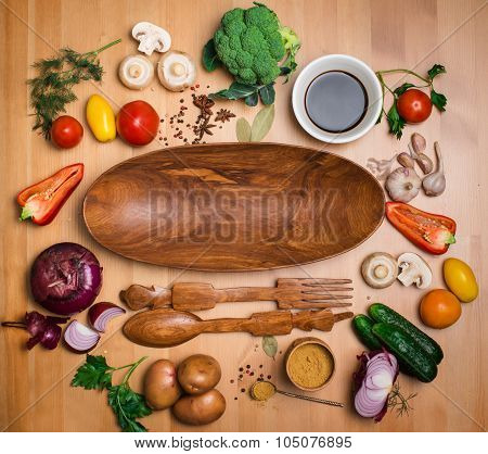 Fresh Broccoli And Vegetables Ingredients For Tasty Vegetarian Cooking On Rustic Wooden Background A