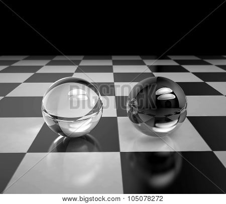 Two Glass Spheres On A Chessboard