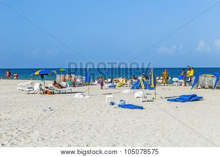 People Enjoy South Beach  In Miami