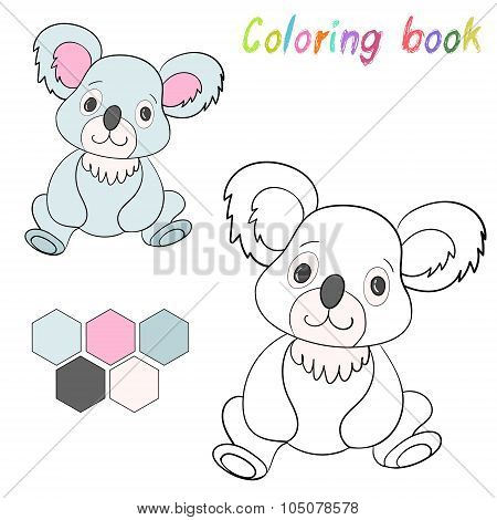 Coloring book koala bear kids layout for game