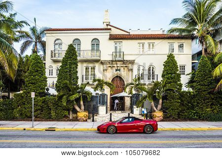 Ferrari In Front Of Versace Mansion