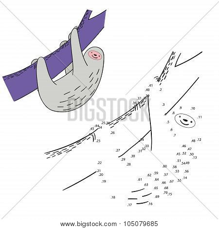 Connect the dots game sloth vector illustration