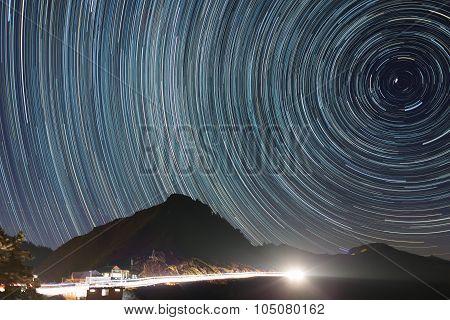 Great Circle Star Trail At Hehuanshan, Taiwan