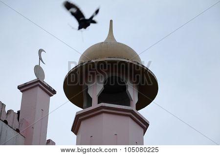 Minaret of Kuching Town Mosque a.k.a Masjid Bandaraya Kuching in Sarawak, Malaysia