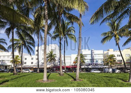 The Famous Ocean Drive Avenue In Miami Beach