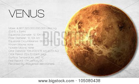 Venus - High resolution Infographic presents one of the solar system planet, look and facts. This im