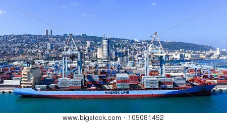 International Mega Container ship unloading containers Haifa's international port