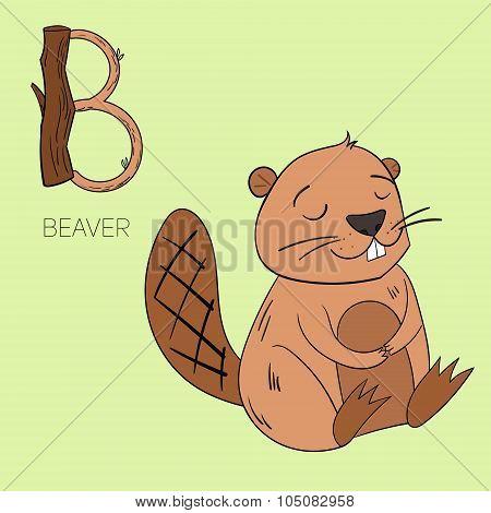 Alphabet letter B beaver children