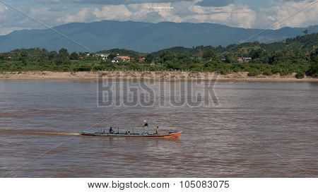 Speed boat on The khong river