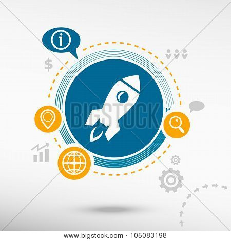 Rocket Icon And Creative Design Elements