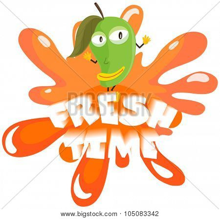 Fresh mango with happy face illustration