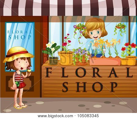 Floral shop with seller and customer illustration