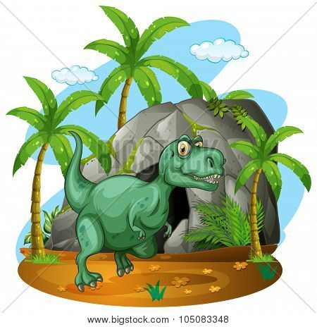 Green dinosaur standing by the cave illustration