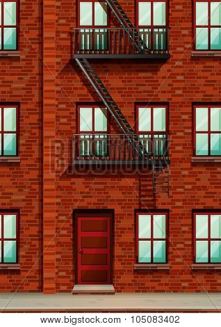 Fire escape on the side of apartment illustration