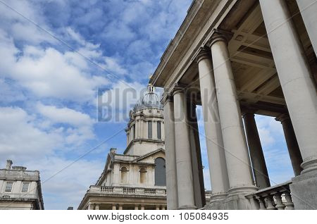 Greenwich Naval College with pillars in Foreground