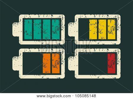 Battery icons set. Typographic retro grunge vector illustration.