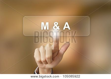 Business Hand Clicking Merger And Acquisition Button On Blurred Background