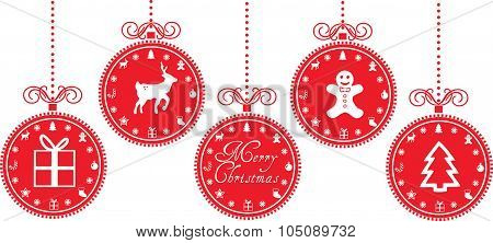 Christmas Baubles With Christmas Icons