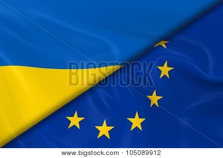 Flags Of Ukraine And The European Union Divided Diagonally - 3D Render Of The Ukrainian Flag And Eu