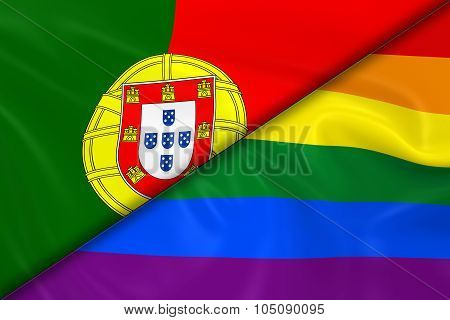 Flags Of Gay Pride And Portugal Divided Diagonally - 3D Render Of The Gay Pride Rainbow Flag And The