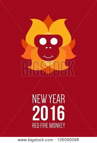 Design Inspiration With Symbol Of 2016 Year Is Monkey