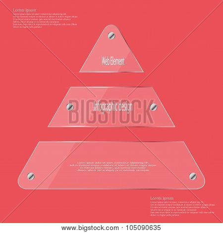 Glass Triangle Divided To Three Parts Infographic Template On Red