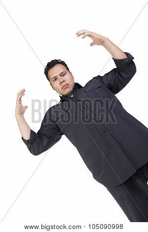 Casual Handsome Hispanic Man With His Hands Up