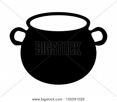 Empty Witch Cauldron, Pot Silhouette. Vector Illustration Isolated On White Background.