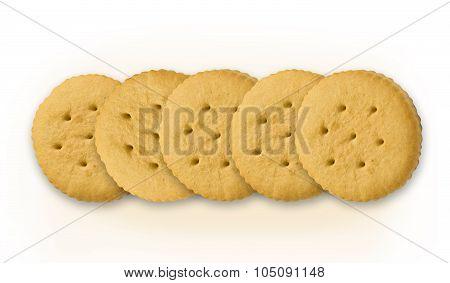 Crackers on white background with work path