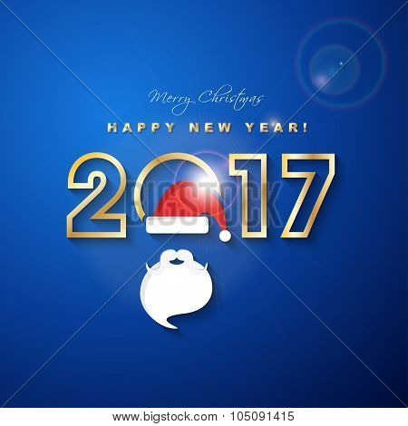 2017 Merry Christmas And  Happy New Year With Santa Claus Hat And Beard Greeting Card