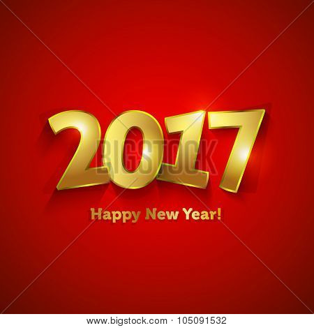 Golden 2017 Happy New Year Sweet Greeting Card