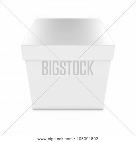 Blank White Gift Box - 3D Render Of A White Box With Lid Isolated On White