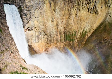 Rainbow At The Lower Falls Of The Yellowstone River