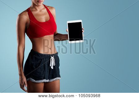 Sport, Exercise, Technology, Internet And Healthcare Concept  -sporty Mixed Race Woman Showing Table