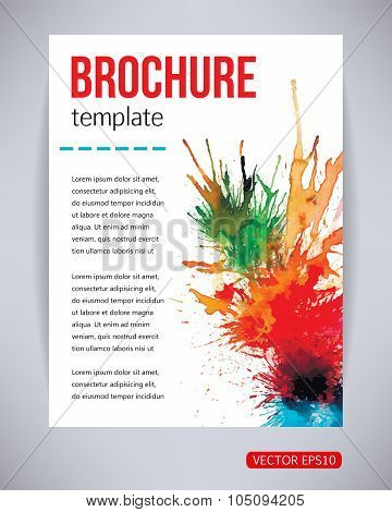 Vector brochure and flyer, poster template with watercolor paint green, red, yellow, blue splash
