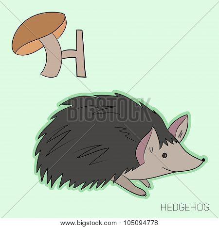 Alphabet letter H hedgehog children vector