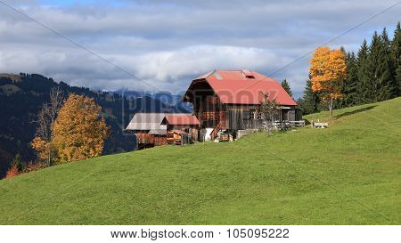 Old Timber Chalet In The Swiss Alps
