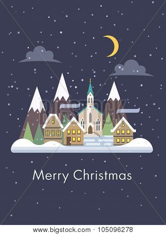 Christmas card with night snowy cityscape flat vector