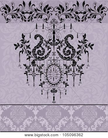 Vintage invitation card with ornate elegant abstract design. Vector illustration.