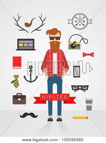 hipster character flat vector set