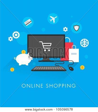 Online shopping concept flat template vector