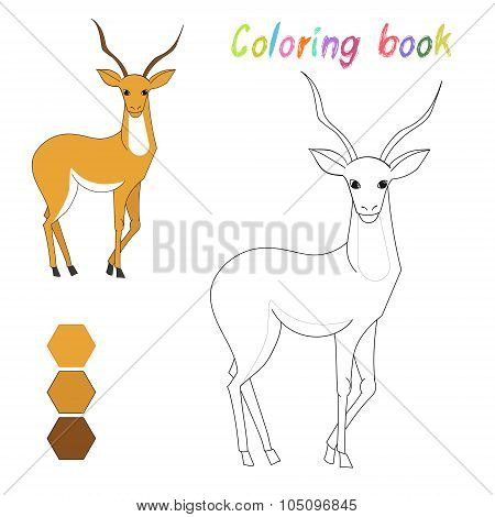 Coloring book gazelle kids layout for game