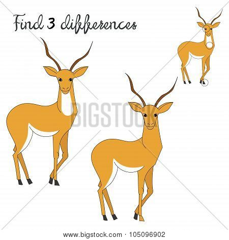 Find differences kids layout for game gazelle