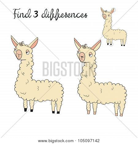 Find differences kids layout for game lama